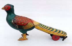 Antique Old Rare Wind Up Beautiful Colorful Peacock Bird Litho Tin Toy Germany