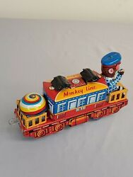 Vintage Monkey Line Tin Toy With Driver Made In Japan B38