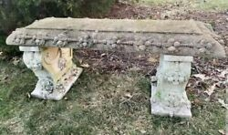 Amazing Vintage Ornate Cement Bench - Incredible Details And Design