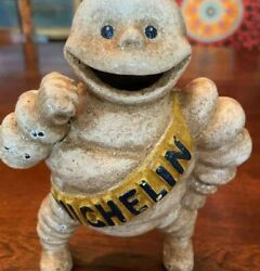 Vintage Cast Iron Michelin Man Coin Bank - Detailed And Unique