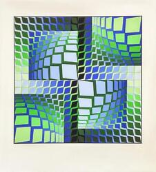 Victor Vasarely Thez Screen Print Signed And Numbered