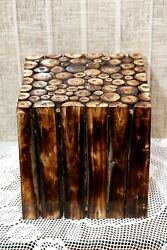 Square Wooden Stool Natural Wood Logs Best As Bedside Tea Coffee Plants Table