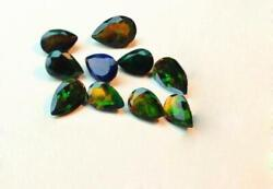 Natural Black Opal Pear Shape Faceted Cut Loose Gemstone Size 7x10mm Aaa
