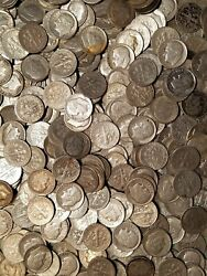 500 .10 1946-1964 Roosevelt Dime Classic Avg Circulated 90 Silver Lot