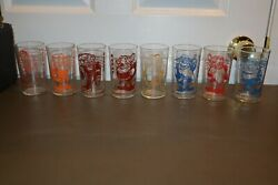 Complete 8 Vintage 1938 Walt Disney Glasses From Snow White And The Seven Dwarfs