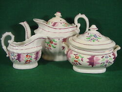 Staffordshire Pink Luster Porcelain Teapot, Sugar And Creamer C1830, Not Pottery