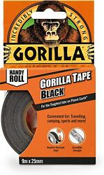 Gorilla Duct Tape To Go 1quot; x 30 ft Black Double Thick Adhesive