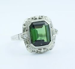 Vintage 14k White Gold Emerald Cut Forest Green Tourmaline And Diamond Ring