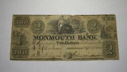 2 1841 Freehold New Jersey Nj Obsolete Currency Bank Note Bill Monmouth Bank
