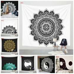 Indian Mandala Tapestry Hippie Wall Hanging Black amp;White Queen Bedspread Decors