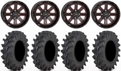 System 3 St-4 14 Wheels Red 30x9.5 Outback Max Tires Honda Foreman Rancher Sra