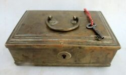 Antique Old Hand Made Unique Lock System Brass 3 Compartment Money Jewellery Box