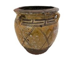 Old Asian Earthenware Pottery Storage Jar 10 H