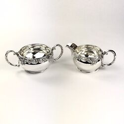 Unique Vintage Sterling Silver 925 Floral Pattern Creamer And Sugar Dish Set