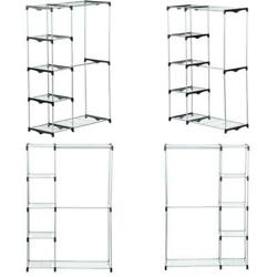Chrome Steel Double Clothes Rack 45 In. W X 68 In. H