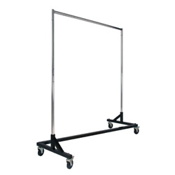 Chrome And Black Steel Clothes Rack With Wheels 64 In. W X 70 In. H