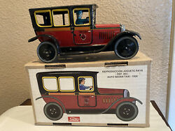 Tin Lithographed Clockwork Wind-up Paya Spain I-863 Taxi Car With Driver Lqqk