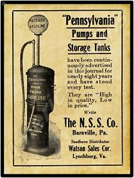 1919 Pennsylvania Visible Gas Pumps Of Bareville, Pa New Metal Sign Large Size