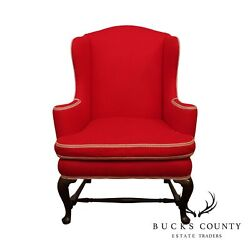 Queen Anne Style Custom Quality Mahogany Wing Chair