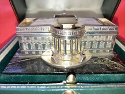 Vintage Sterling Silver United States White House Green Italian Marble Base Uk.