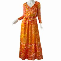 Vintage 60s Christian Dior New York Psychedelic Novelty Print Dress Maxi Small