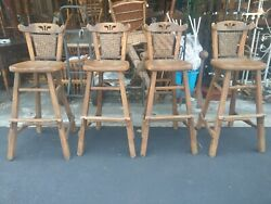 Antique Old Hickory Set Of Four Camp Adirondack Rustic Cabin Bar Stools