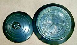 Vintage Chase Brass And Copper Co. Centaur Art Deco Metal 3 Pc.and Glass Candy Dish