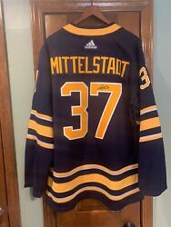 Authentic Pro Adidas Buffalo Sabres Signed Casey Middlestadt 37 Jersey - 52