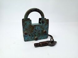 Antique Solid Iron Padlock Hand Carved Screw System Pad Lock Original Painted