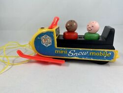 Reduced Vintage 1970 Fisher Price Mini Snowmobile With Wooden Little People