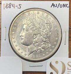 1884-s Morgan Silver Dollar About Uncirculated/uncirculated Au/unckey Date