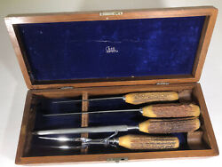 Vintage Case Xx Stag-handled Carving Knife Fork And Sharpener With Wood Case