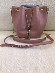 Bvlgari Serpenti Dusty Rose With Blue Interior All Leather Bucket Bag