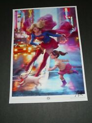 2021 Supergirl 17 Art Print Signed By Stanley Artgerm Lau 11.7x16.5a3
