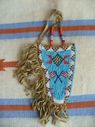 Vintage Native American Indian Beaded Leather Guns Holster