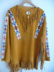 Native American Indian Leather And Beaded War Shirt