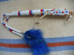 Vintage Native American Indian Beaded Leather Awl Bag