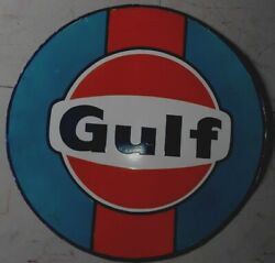 Porcelain Gulf Enamel Sign Size 36 Inches Round 2 Sided