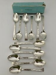 Lap Over Edge Acid Etched Sterling Silver Set Of 12 Spoons 6andnbsp