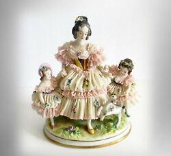 Germany Volkstedt Porcelain Lace Figurine Of Woman And Children With Lamb -1920