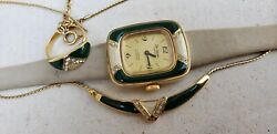 Vintage De Coven Mechanical Watch Ring And Necklace Set