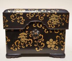 Japanese Black And Gold Lacquer Box 19th Century.