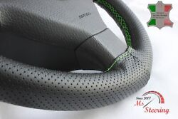 For Autocar Expert -black Perf Leather Steering Wheel Cover Green Stitch