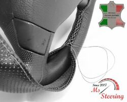 For Autocar Expert -black Perf Leather Steering Wheel Cover Grey Stitch