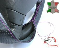 For Autocar Expert -black Perf Leather Steering Wheel Cover Purple Stitch