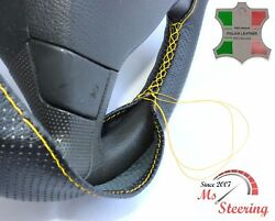 For Autocar Expert -black Perf Leather Steering Wheel Cover Yellow Stitch