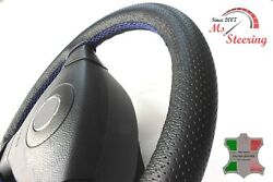 For Autocar Expert -black Perf Leather Steering Wheel Cover Royal Blue Stitch