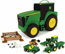 Tomy John Deere Durable Vehicle Toy Set For Kids With Tractor Shaped Portable