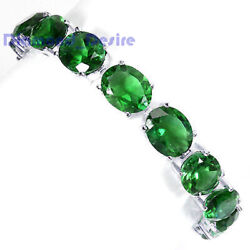 Big 10x12 Emerald 925 Sterling Silver Green Necklace Bracelet Earring White Gold