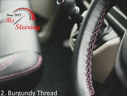 For Autocar Expert -black Steering Wheel Cover Burgundy Stitch